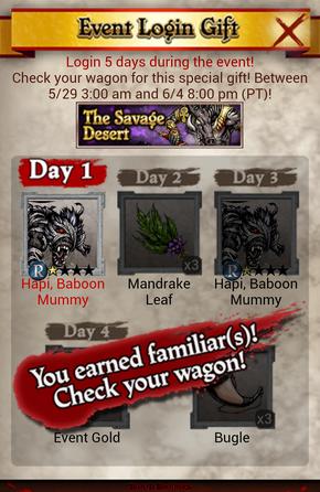 The Savage Desert Event Login