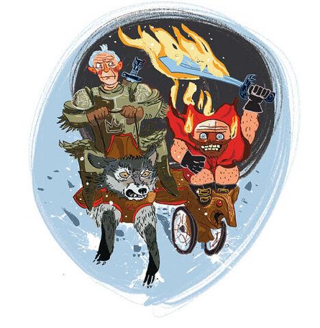 File:Ser Barristan Selmy riding Nymeria alongside 'ol flamesword Thoros of Myr.jpg