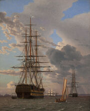 C.W. Eckersberg - The Russian Ship of the Line -Asow- and a Frigate at Anchor in the Roads of Elsinore - Google Art Project