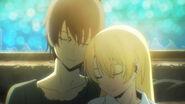 Himiko and Ryota snuggle