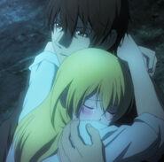 Himiko and Ryota hug each other