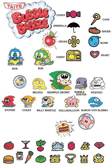 Bubble Bobble Enemies and Items