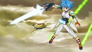 Tasuku equiped with Star Saber, Asteroid