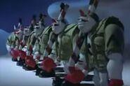 Snowmen lining up