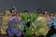 An army of cute dolls riding on foamy toads