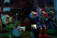 Destructo polishing his armor while bumpy plays the drums