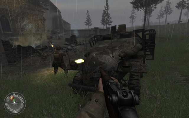 File:Mortar team and car Approaching Hill 400 CoD2.png