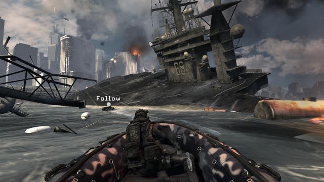 File:Boat chase and destroyed carrier Hunter Killer MW3.png