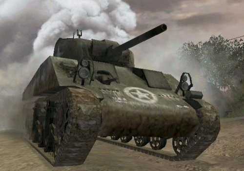 File:M4 Sherman coming out of smoke CoD3.jpg