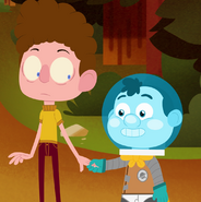 Space Kid Holding Neil's Hand