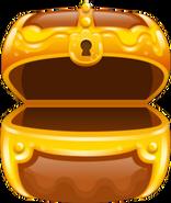 Treasure chest brown opened