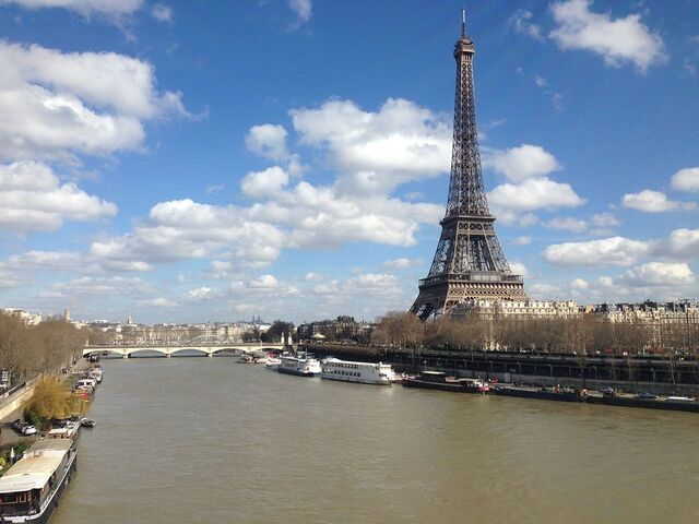 File:Eiffel Tower by the Seine river, Paris, 2 March 2014.jpg