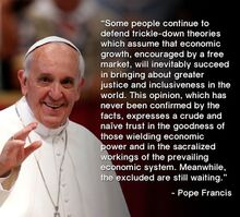 Pope Francis on trickle-down economics