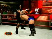 Dark about to be hit with Nicmeri's finisher The Diluted on BurnOut show 31