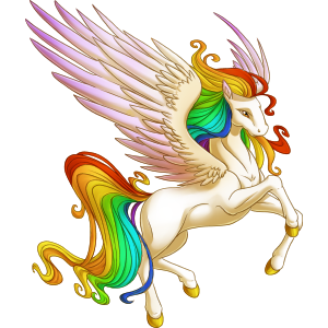 Unicorn With Wings And Rainbow Image - Rainbow...