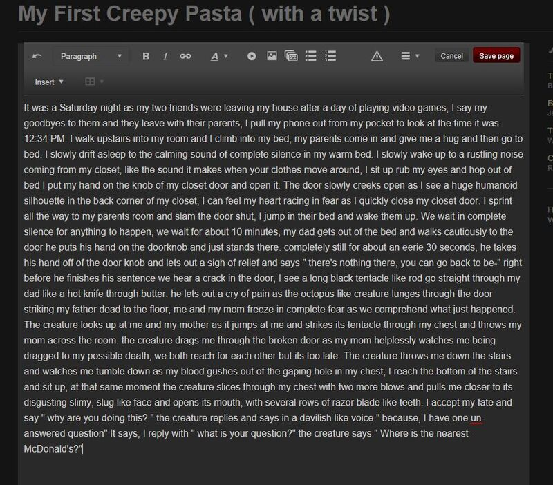 My first creepy pasta