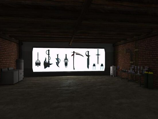 Basement - Tailor Area - Tech - Light Wall with Alien Melee Weapons