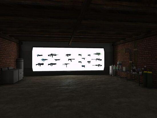 Basement - Tailor Area - Tech - Light Wall with Guns