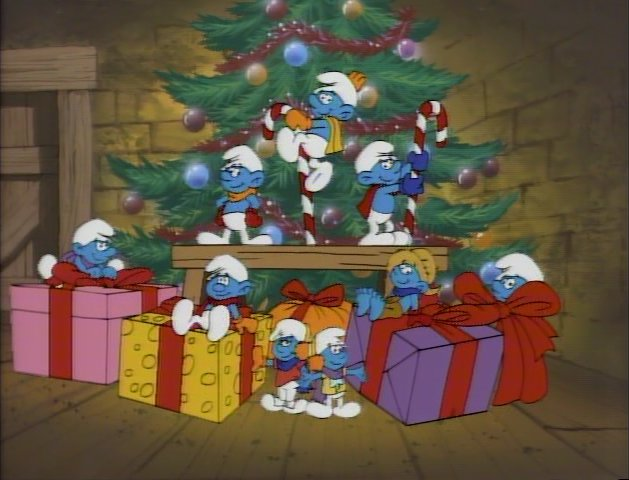 File:Smurfs in front of a Christmas tree.jpg