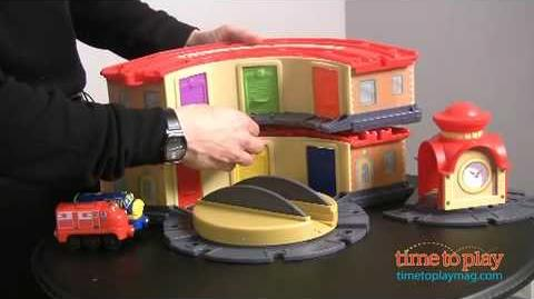 Chuggington Wooden Railway Double-Decker Roundhouse with Elevating Turntable from Learning Curve