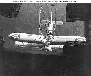 XF9C 1 aircraft hooking onto USS Akron, May 1932.jpg