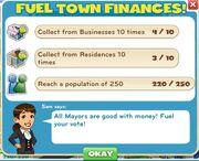 Fuel town finances tasks