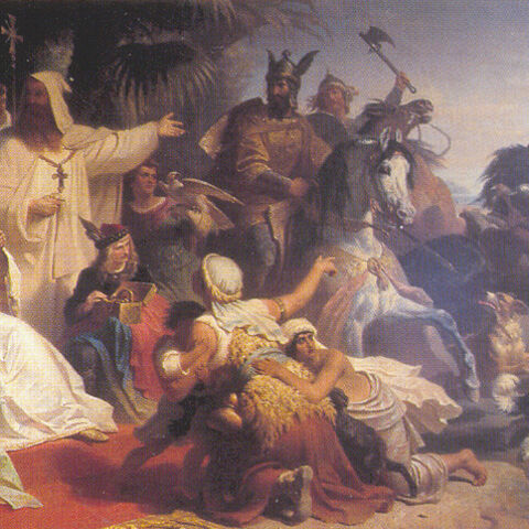A painting of Harun al-Rashid receiving Charlemagne's delegation, by Julius Köckert