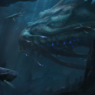A kraken and a submarine, as shown in a <i>Rising Tide</i> loadscreen