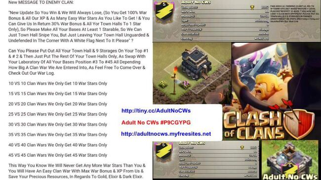 Clash Of Clans AdultNoCWs Message To Enemy Poster