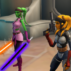 Tahiri, in her second favourite gear, and Talanna Clara, her friend, defeat a Lightsaber weilding Bounty Hunter, who attacked them, Tahiri took the Lightsabers.