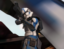 A-13 Ember aiming at droids