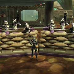 Handalora poses before the sandbag walls and security troops outside of her Felucian outpost