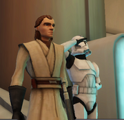 Kaja Tallan with clone trooper in the Jedi Temple