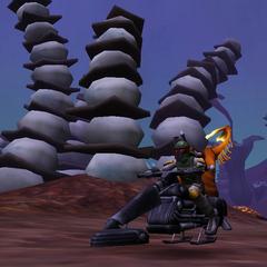 Commander Shox on his speeder on Felucia