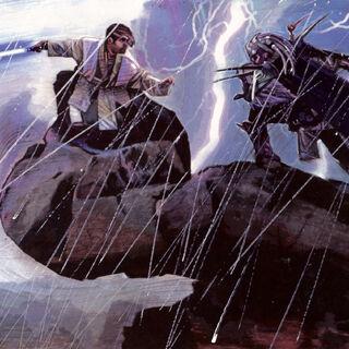Corran Horn dueling the Yuuzhan Vong general