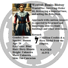 Wanted poster for Baniss Bistray.