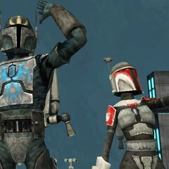 Malek and his daughter Mirta wave their hands to the people of Mandalore after the death of Darth Xhaltan.