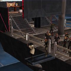 Commander Shox walking the Plank