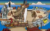 Rockhopper's Quest Migrator docked at Dinosaur Island