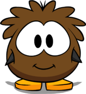 Brown Puffle Costume on a Player Card