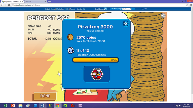 File:Club Penguin—Pizzatron 3000 All Stamps Earned Extra Stamp(s) Glitch—Benny75527.png