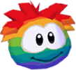 Rainbow puffle 3d icon