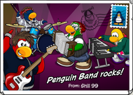Penguin Band Rocks postcard