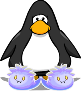 Ghost Puffle Slippers on a Player Card