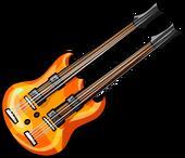 Orange double neck guitar
