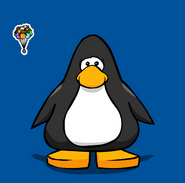 Puffle Balloon Pin on a Player Card