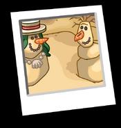 Summer Snowman Background Icon