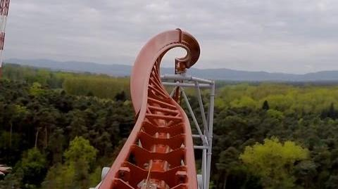 Sky Scream Roller Coaster POV Premier Launched Ride Holiday Park Germany