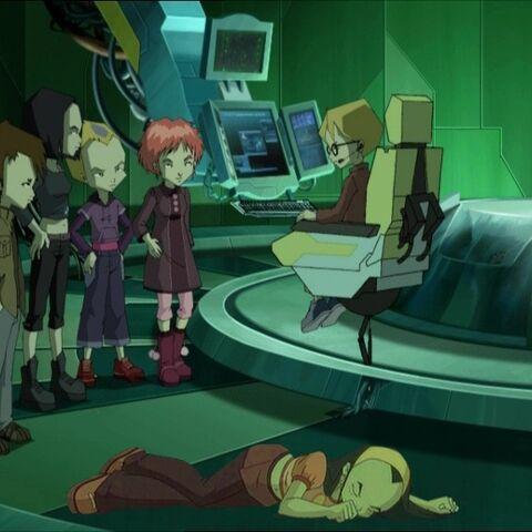 The Lyoko-Warriors and Sissi's lifeless body.