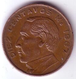 MXN 1967 10 Centavo